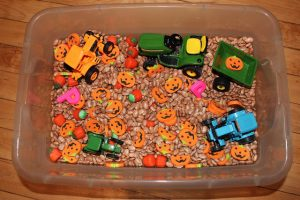pumpkins sensory bin