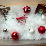 faux snow sensory bin