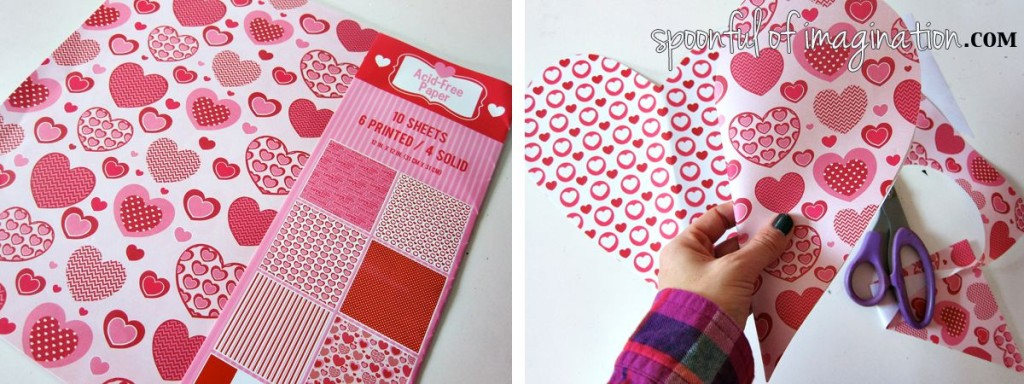 cutting paper hearts