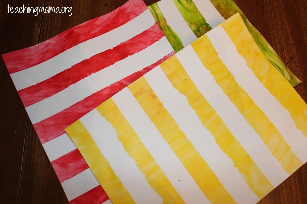 Finger Painting Stripes for Toddlers