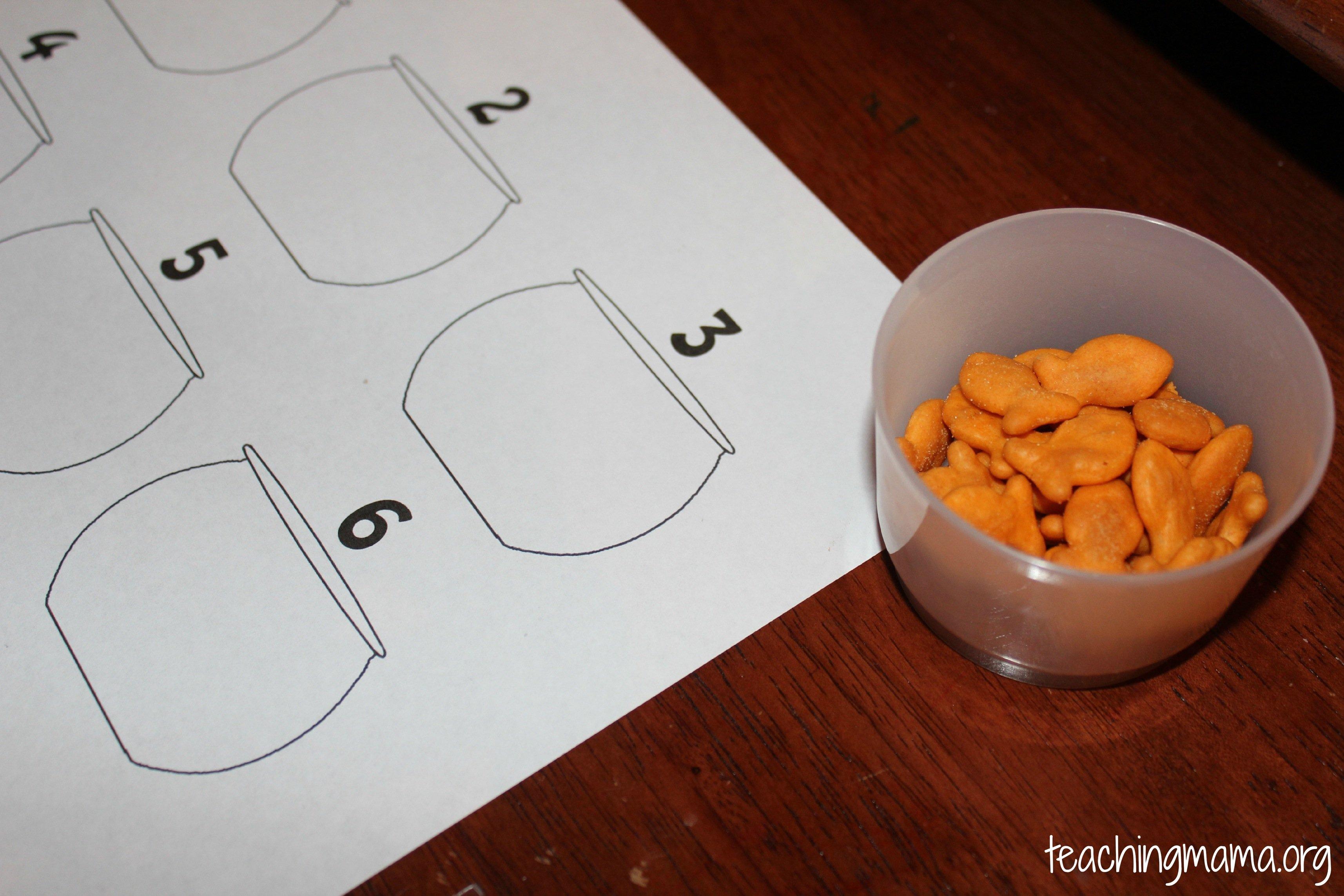 Fine motor skills tweezers goldfish teaching mama for Fish activities for preschoolers