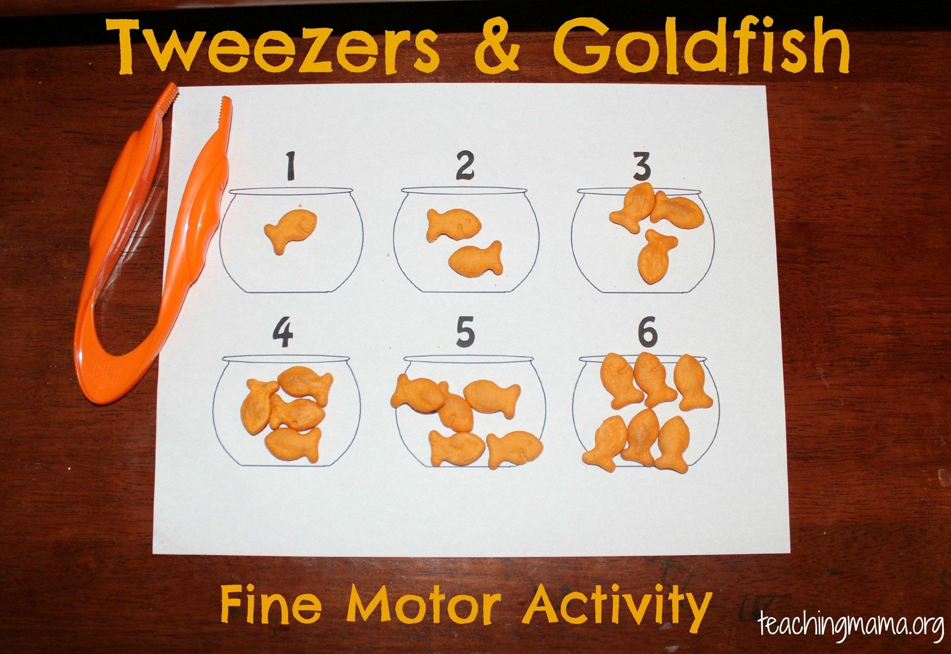 Fine motor skills tweezers goldfish teaching mama for List of fine motor skills for preschoolers