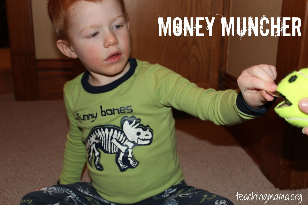 Money Muncher- great for building fine motor skills and working with money!