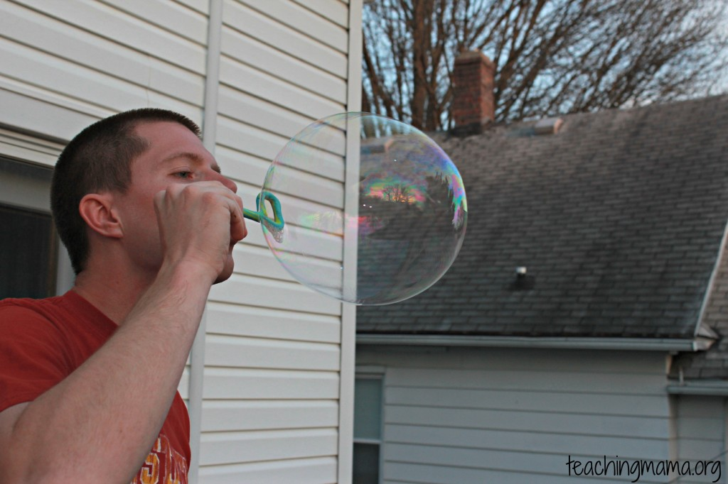 Big Bubble from Homemade Bubble Solution
