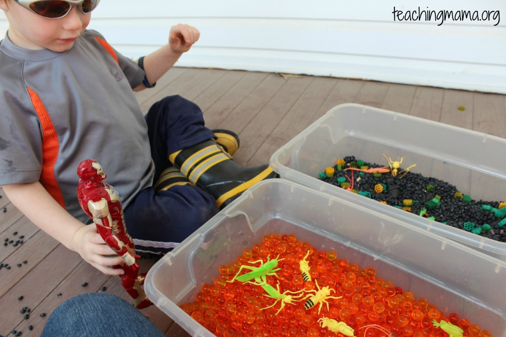 Water Beads and Spring Sensory Bin
