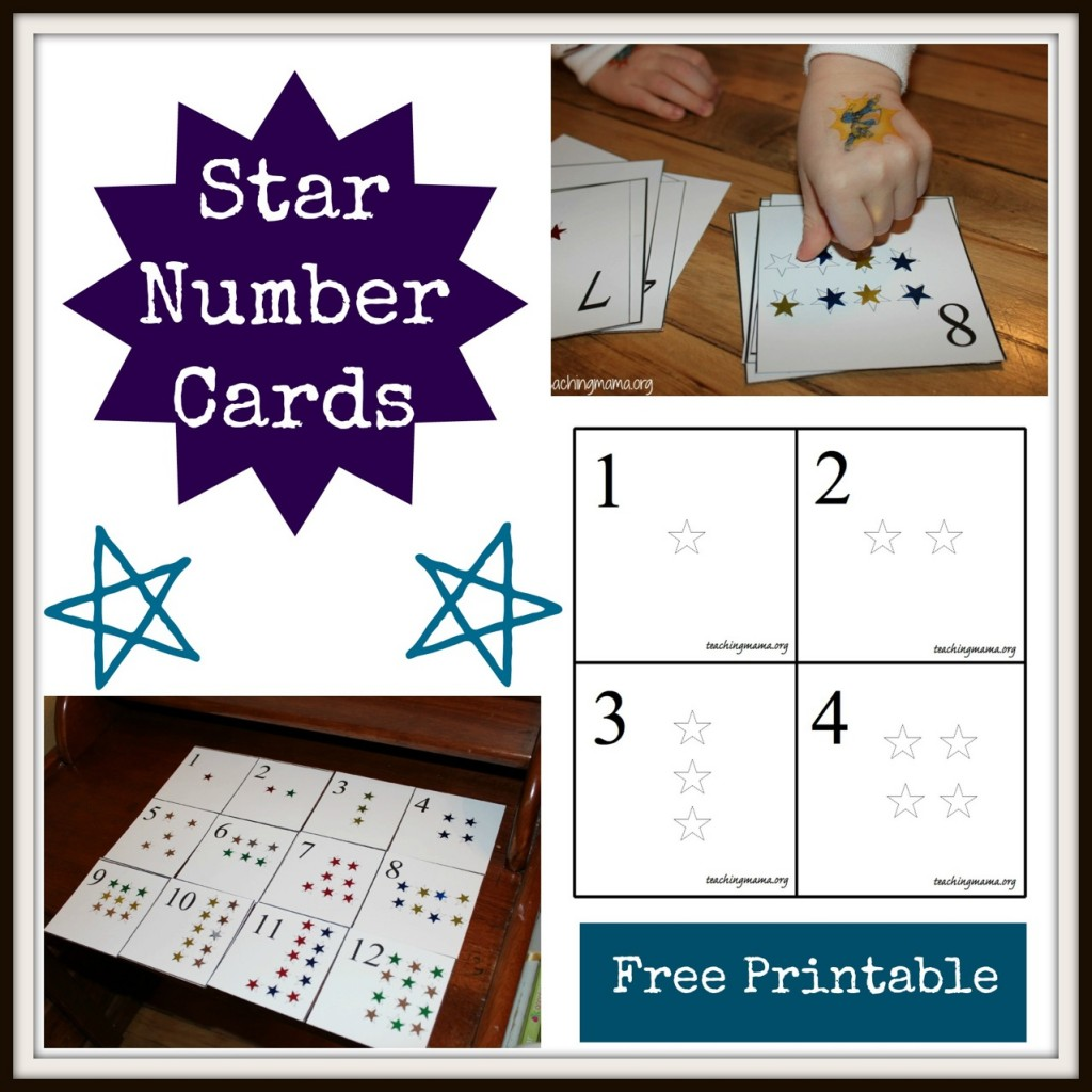 Star Number Cards--with free printable!