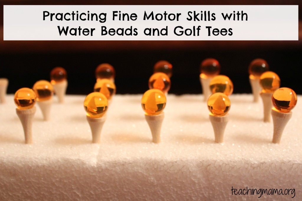 Practicing Fine Motor Skills with Water Beads and Golf Tees