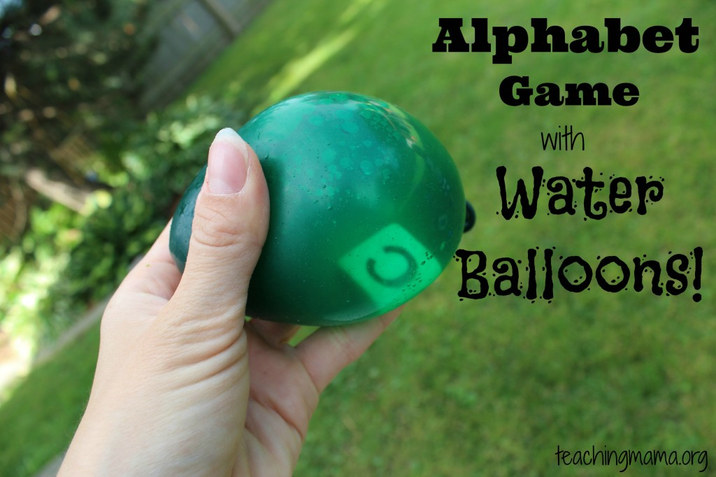 Alphabet Game with Water Balloons
