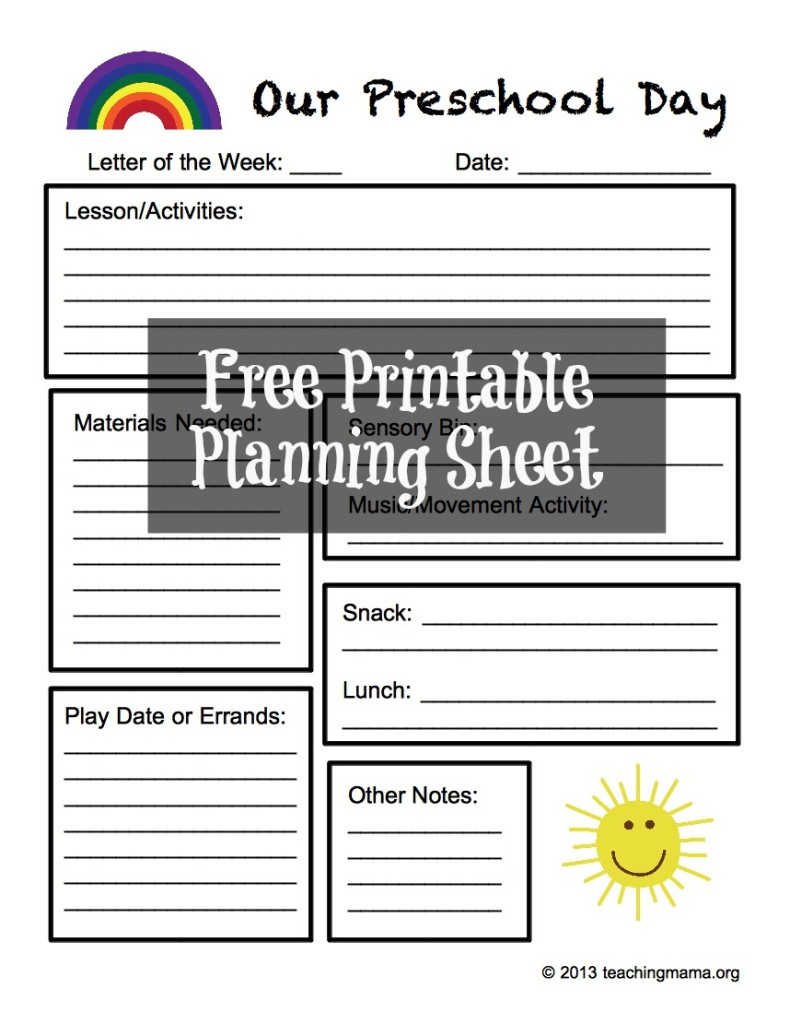 Free Preschool Planning Sheet