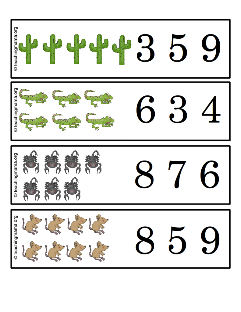 Desert Count and Clip Cards (printables)