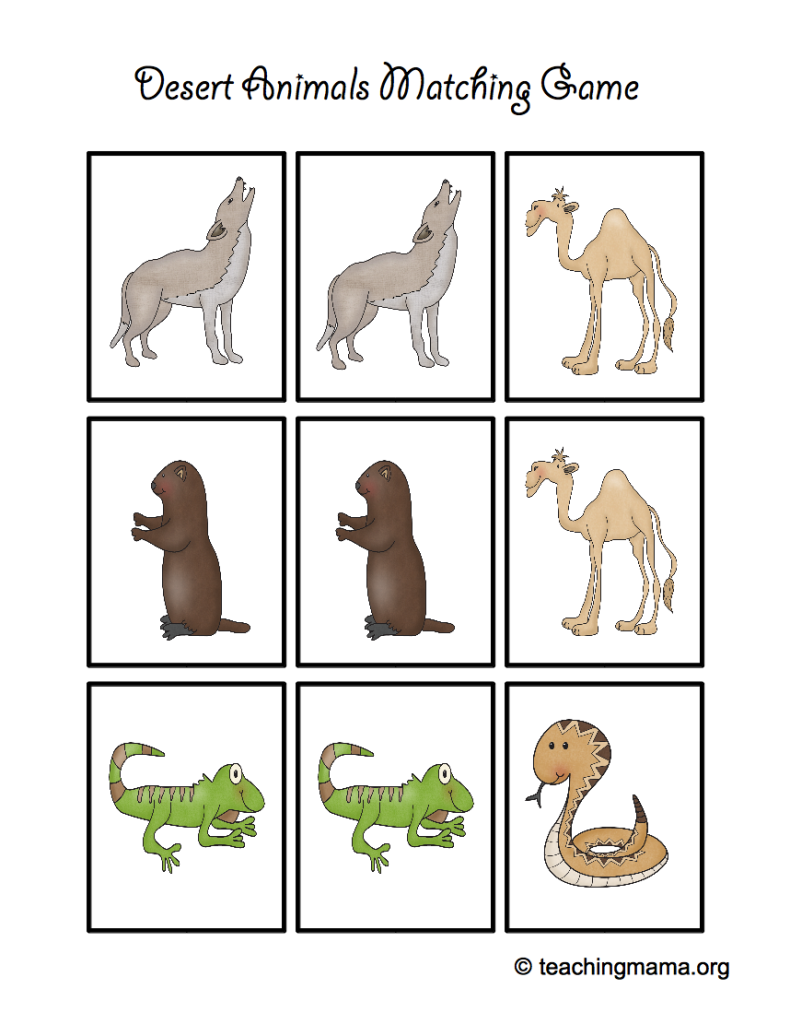 picture regarding Animal Matching Game Printable identified as Desert Animal Printables - Training Mama