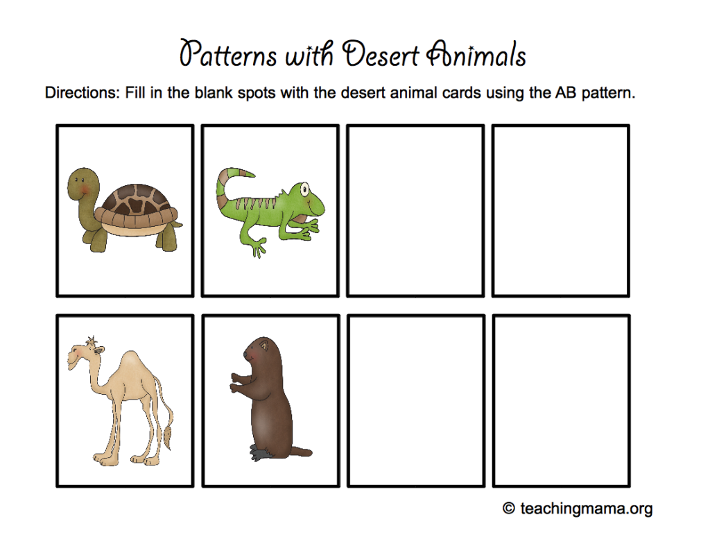 Patterns with Desert Animals (free printable)