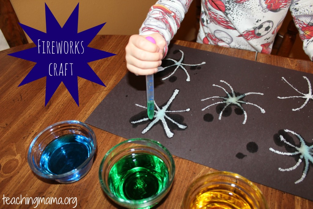 Easy fireworks craft using salt