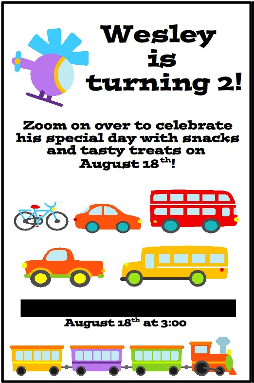 Transportation Party Invitations