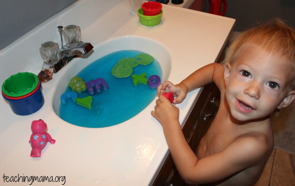 Alphabet Letter Game in a Sensory Sink