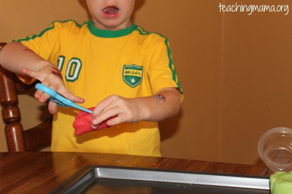 scissors with playdough