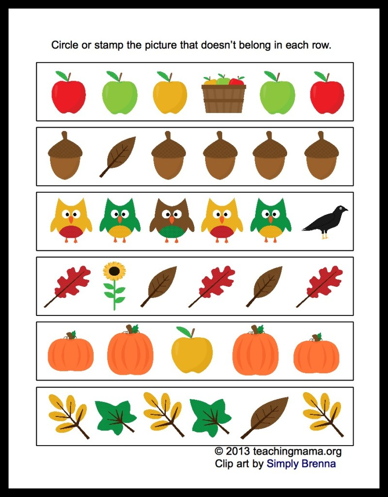 math worksheet : fall math packet for preschoolers : Fall Math Worksheet