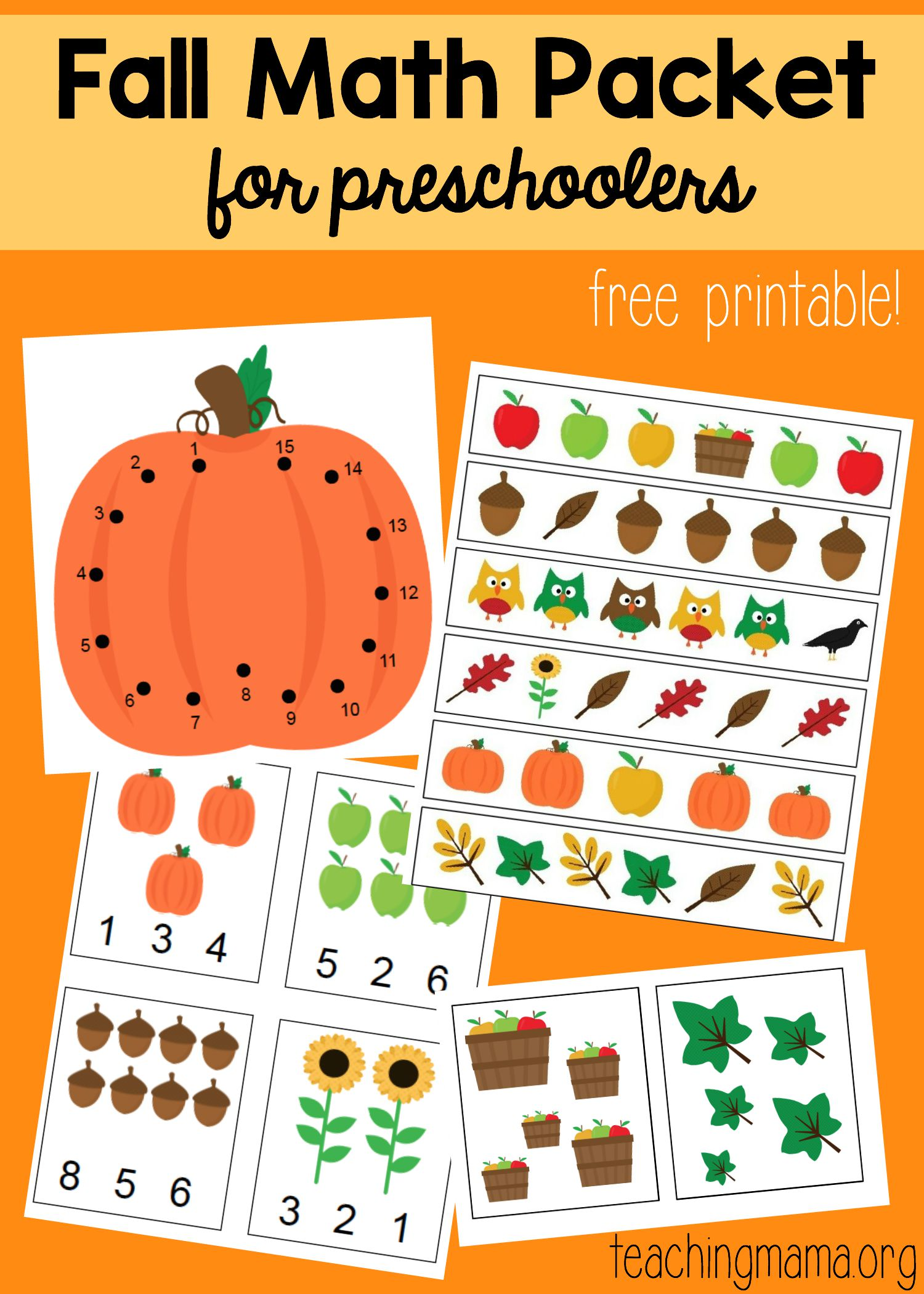 Math Packet for Preschoolers – Fall Worksheets for Preschool