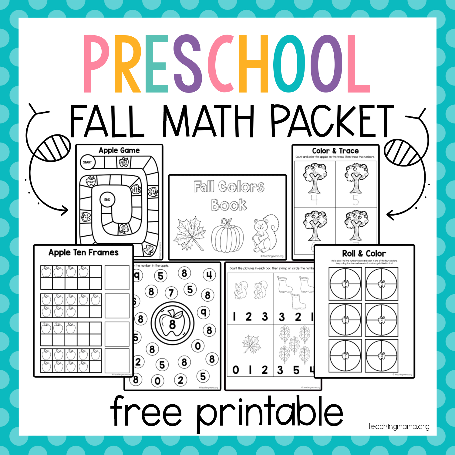 free preschool math packet for fall