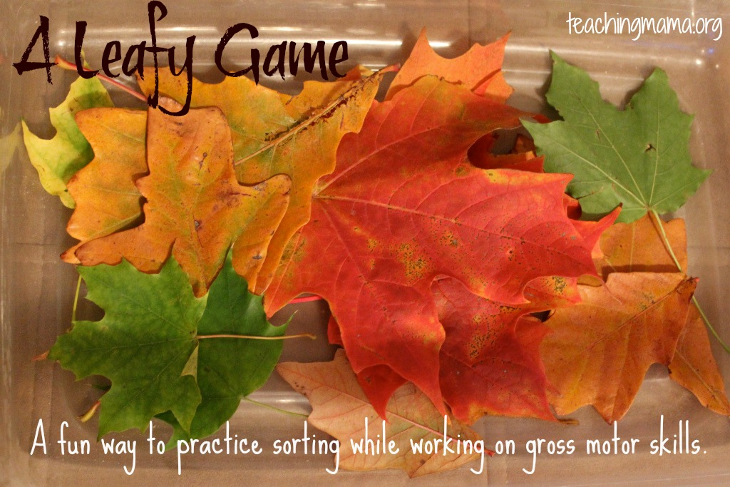 A Leafy Game--a great way to practice sorting and gross motor skills!