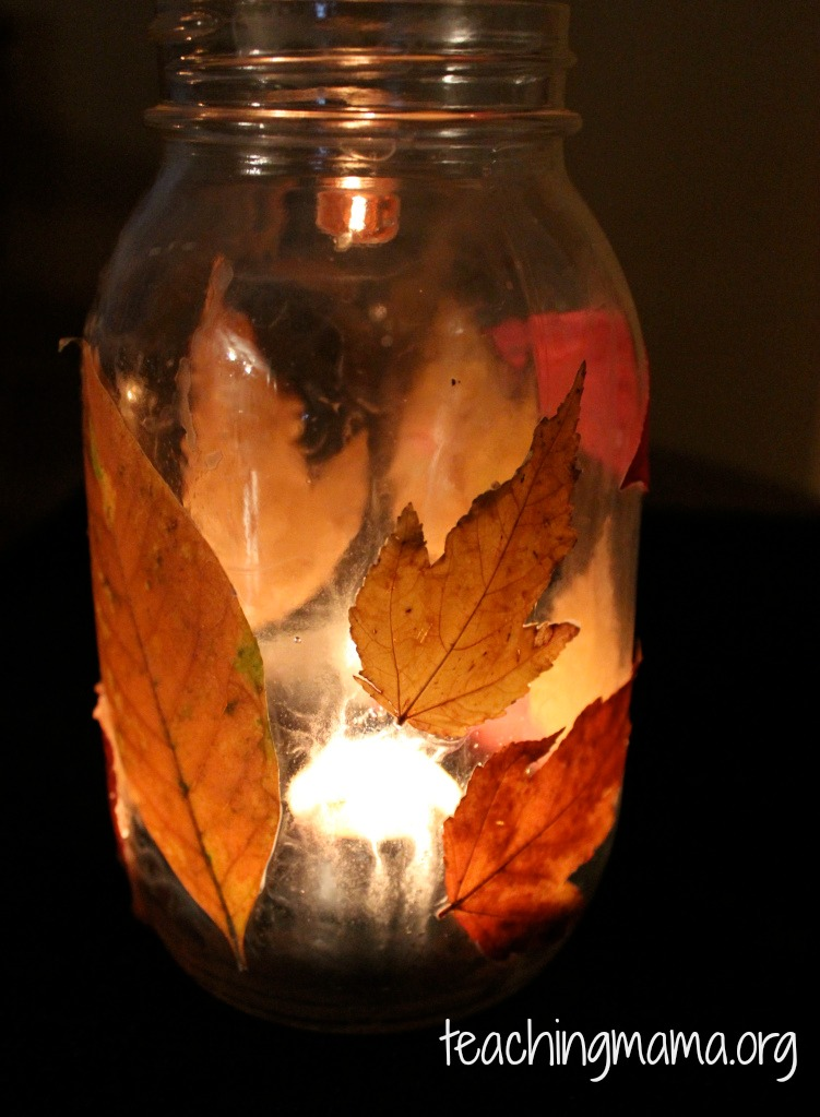 art activities for kids, leaf lantern