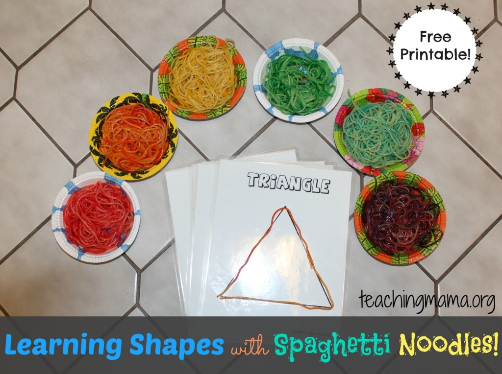 Learning Shapes with Spaghetti Noodles--Free Printable!