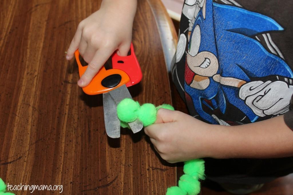 Cutting Pom Pom Garland