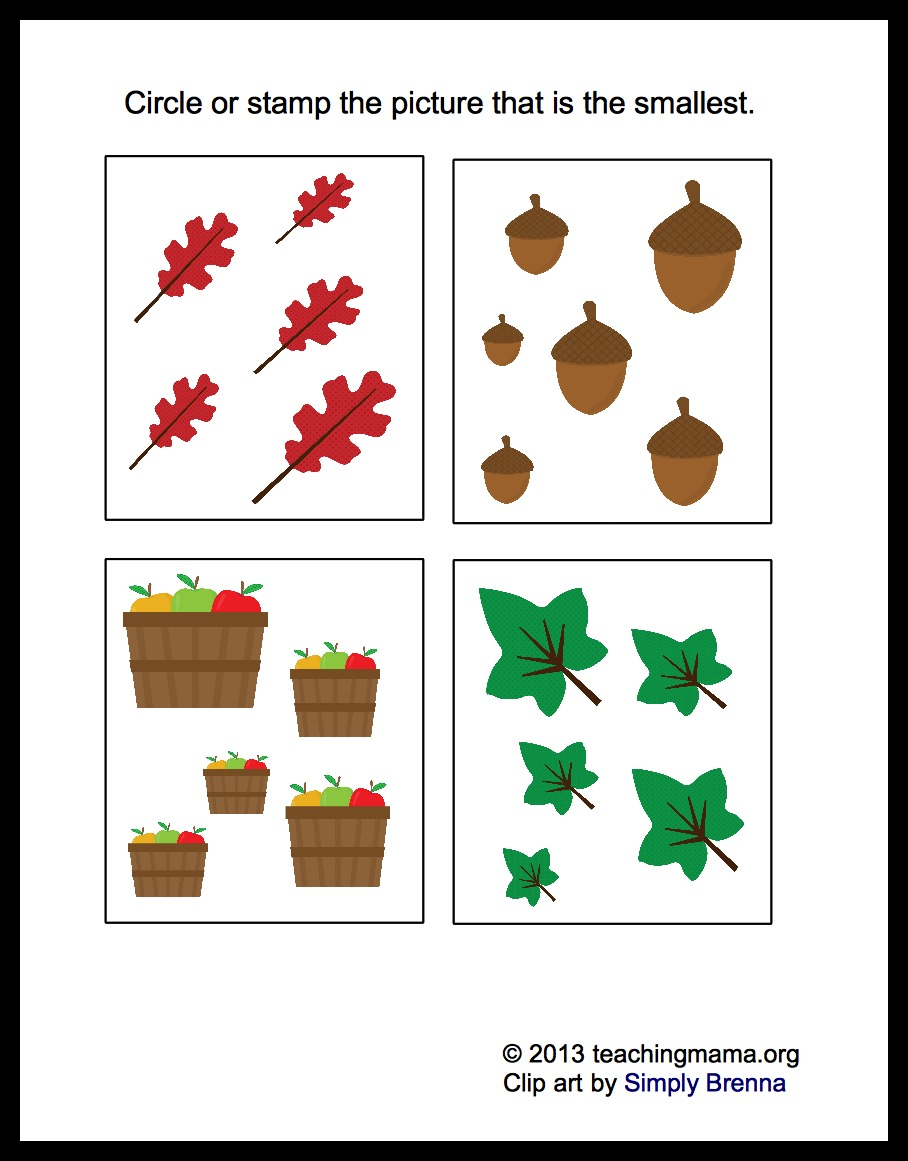 worksheet Fall Worksheets For Kindergarten fall math packet for preschoolers