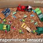 Transportation Sensory Bin and Activities