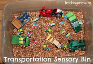 Transportation Sensory Bin and Activities