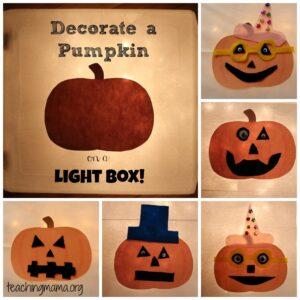 Pumpkin Decorating on a Light Box