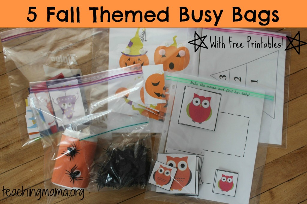 5 Fall Themed Busy Bags (with FREE printables!)