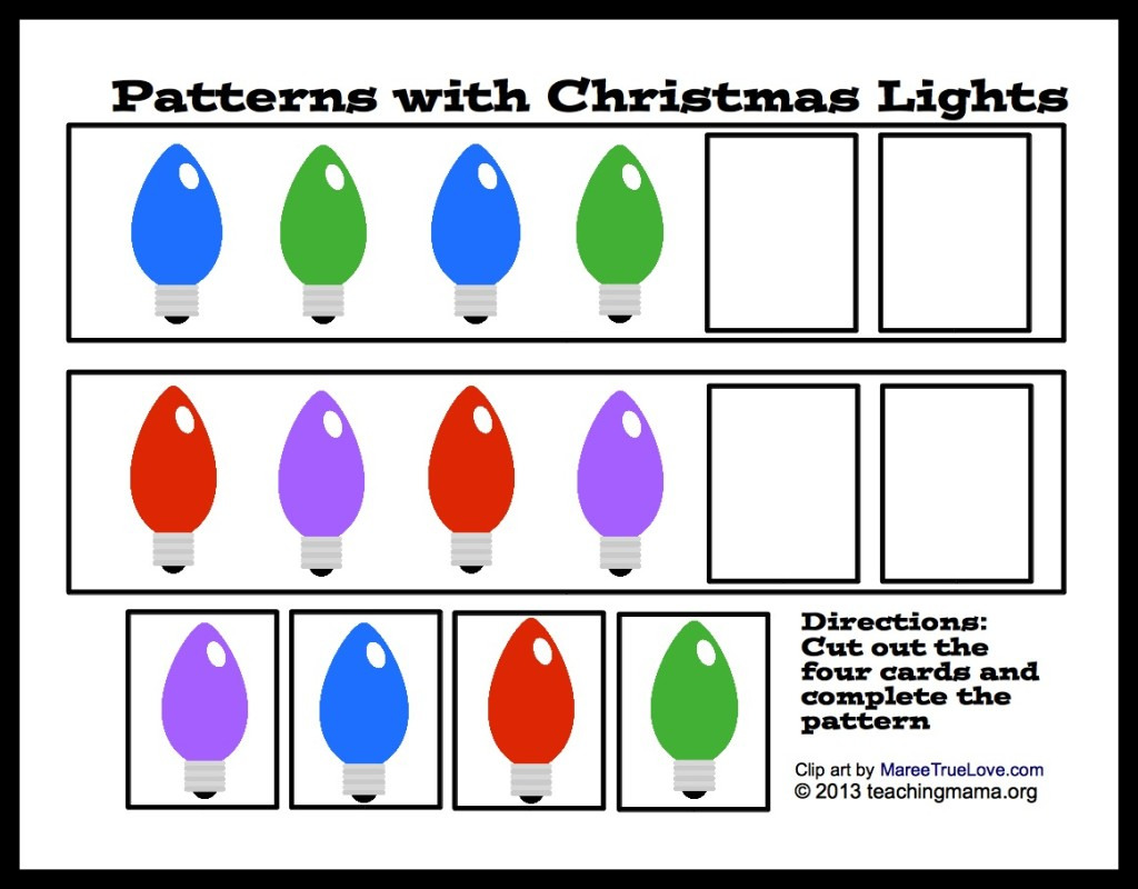 Patterns with Christmas Lights (free printable!)