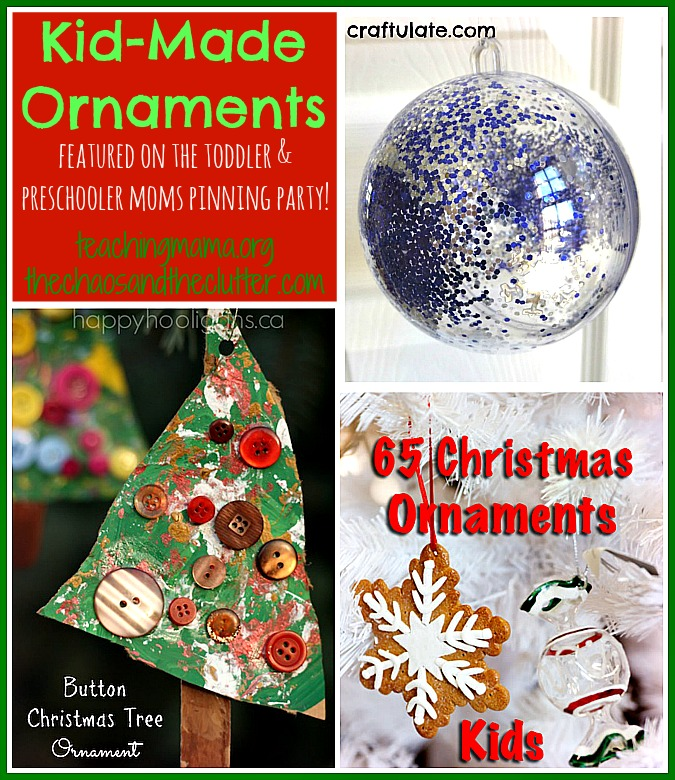 Kid-Made Ornaments featured on the Toddler & Preschooler Moms Pinning Party