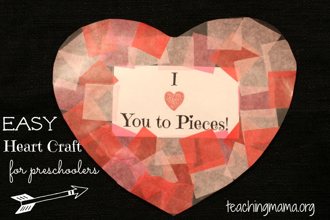 Heart tissue paper suncatcher for Easy heart crafts