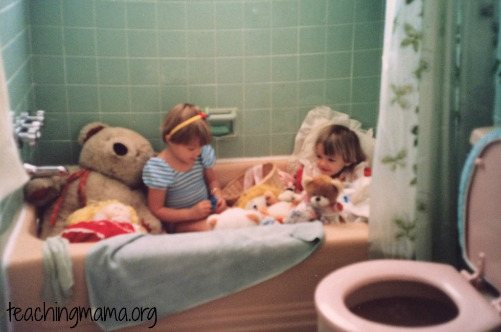 Playing in the Bathtub with Stuffed Animals