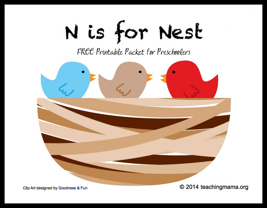 N is for Nest -- Free Printable Packet for Preschoolers