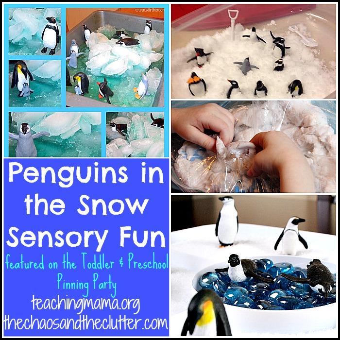 Penguins in the Snow Sensory Fun as featured on the Toddler & Preschool Pinning Party