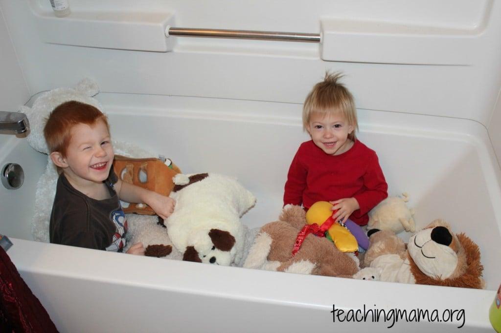 Bathtub with Stuffed Animals
