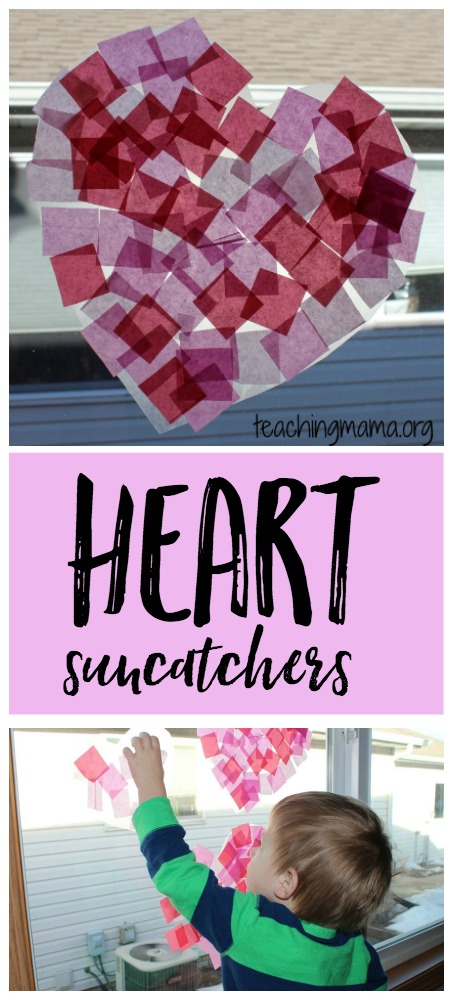 heart tissue paper suncatcher