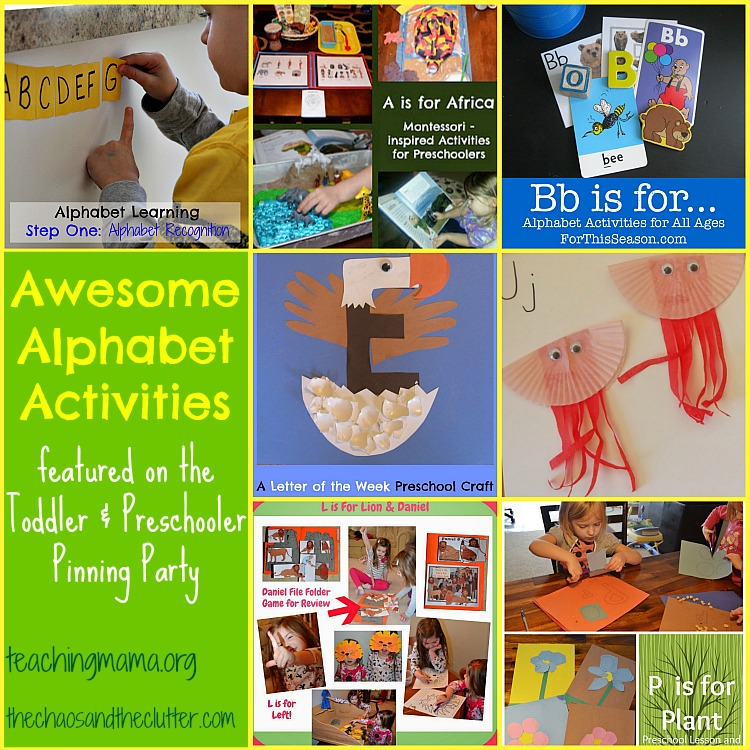 Awesome Alphabet Activities as featured on the Toddler & Preschooler Pinning Party