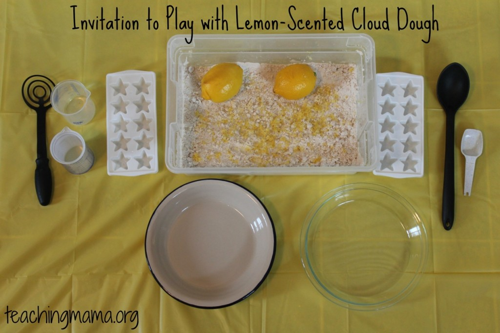 Invitation to Play with Lemon-Scented Cloud Dough