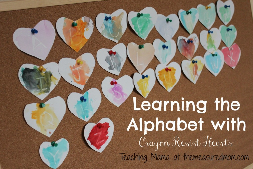 Learning the Alphabet with Crayon Resist Hearts