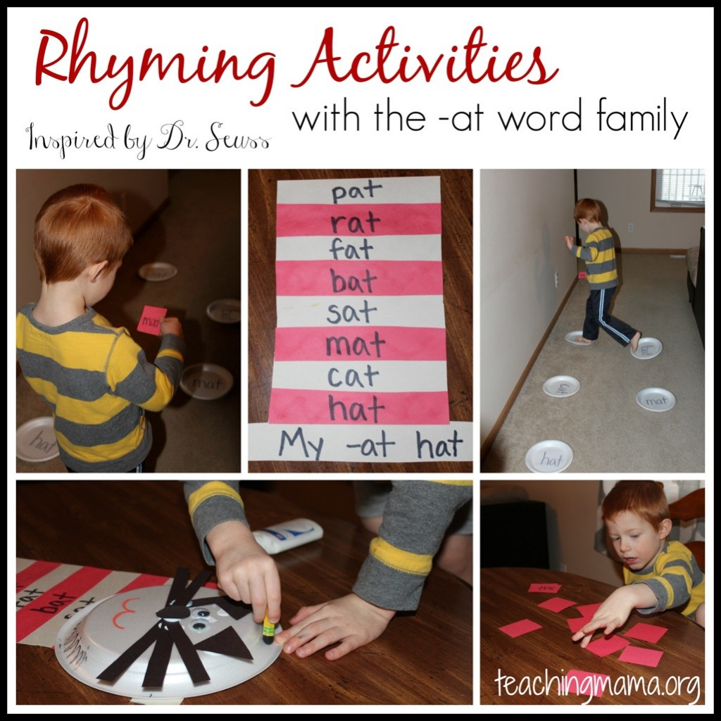 Rhyming Activities with the -at Word Family