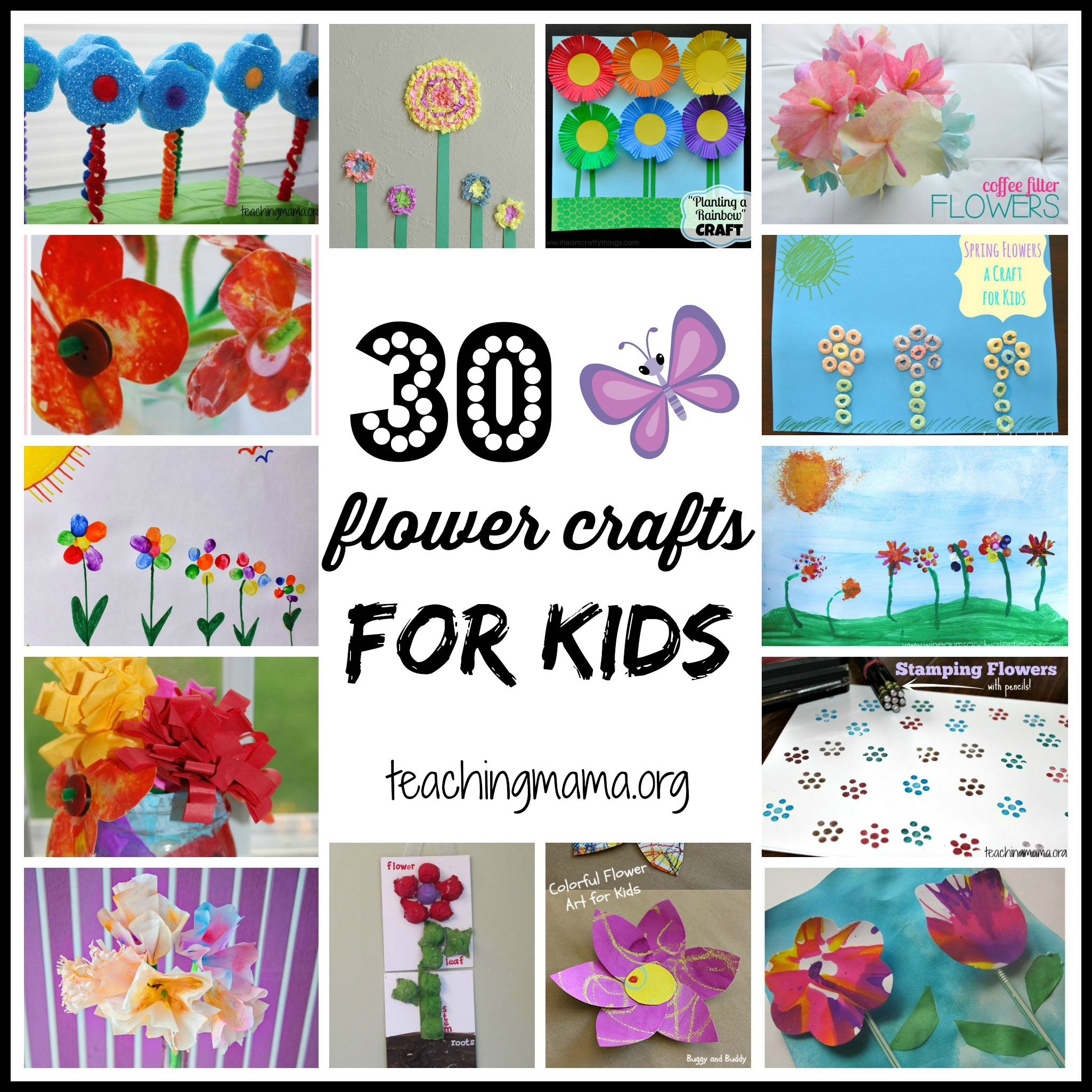 30 flower crafts for kids for Crafts to make for kids