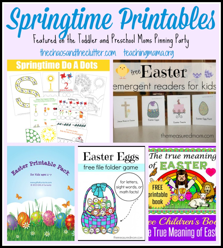 Springtime Printables Featured on the Toddler and Preschool Moms Pinning Party