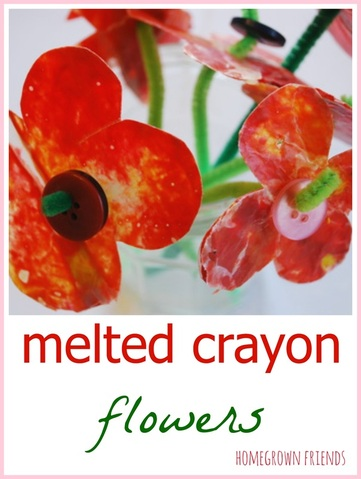melted crayon flowers