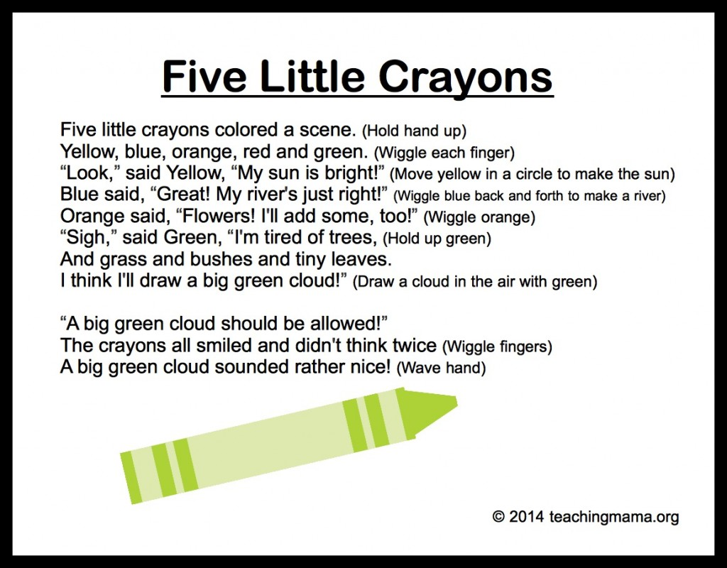 Colors preschool songs - 5 Little Crayons Chant Color
