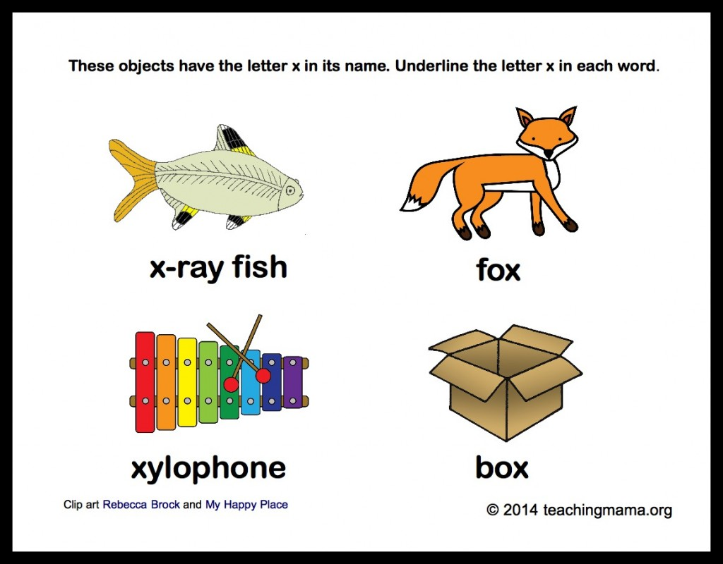 Worksheets Pictures That Start With X x is for ray letter printables underline x