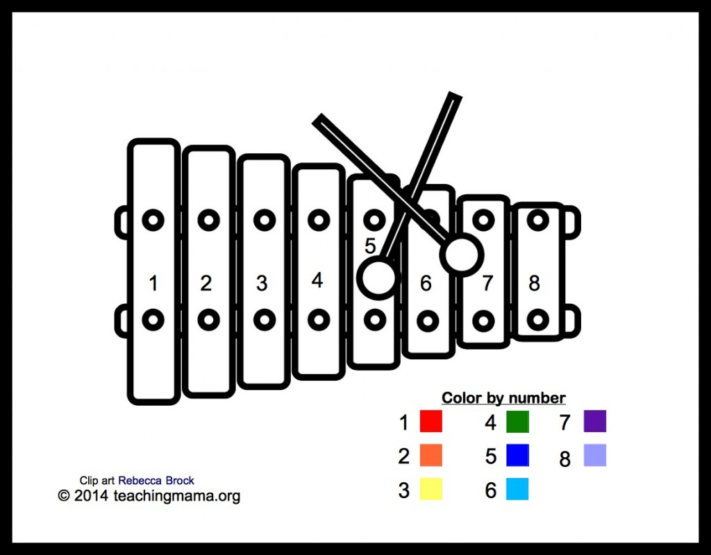 X ray coloring sheets - Xylophone Coloring Page